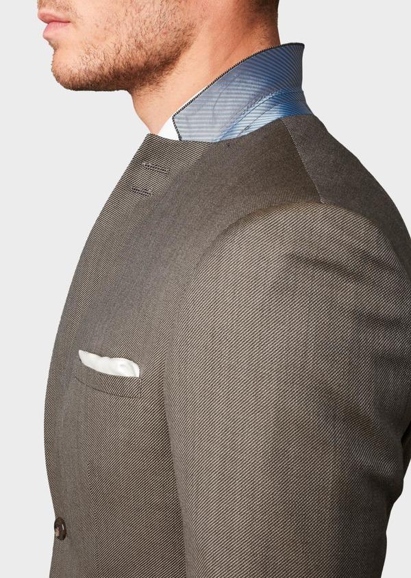 Costume 2 pièces Slim en laine façonnée unie marron clair - Father and Sons 5825