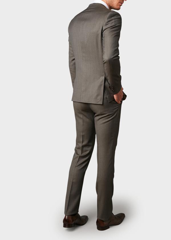 Costume 2 pièces Slim en laine façonnée unie marron clair - Father and Sons 5824