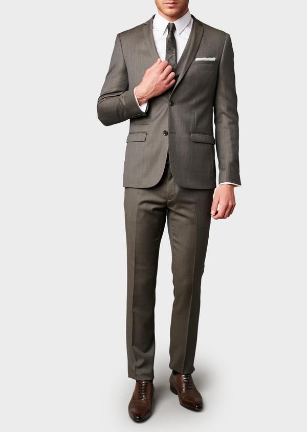 Costume 2 pièces Slim en laine façonnée unie marron clair - Father and Sons 5823