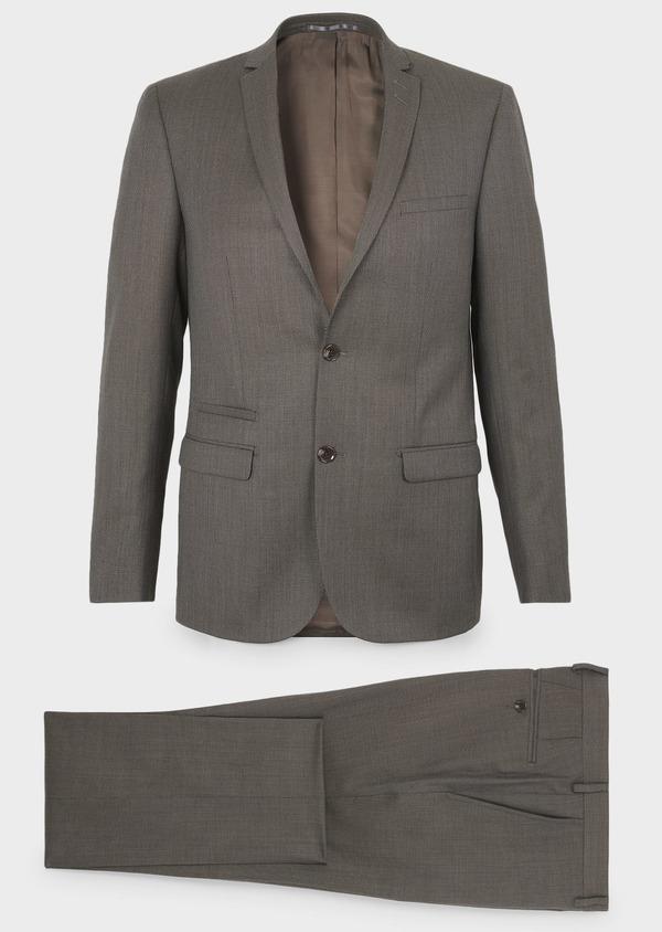 Costume 2 pièces Slim en laine façonnée unie marron clair - Father and Sons 5821