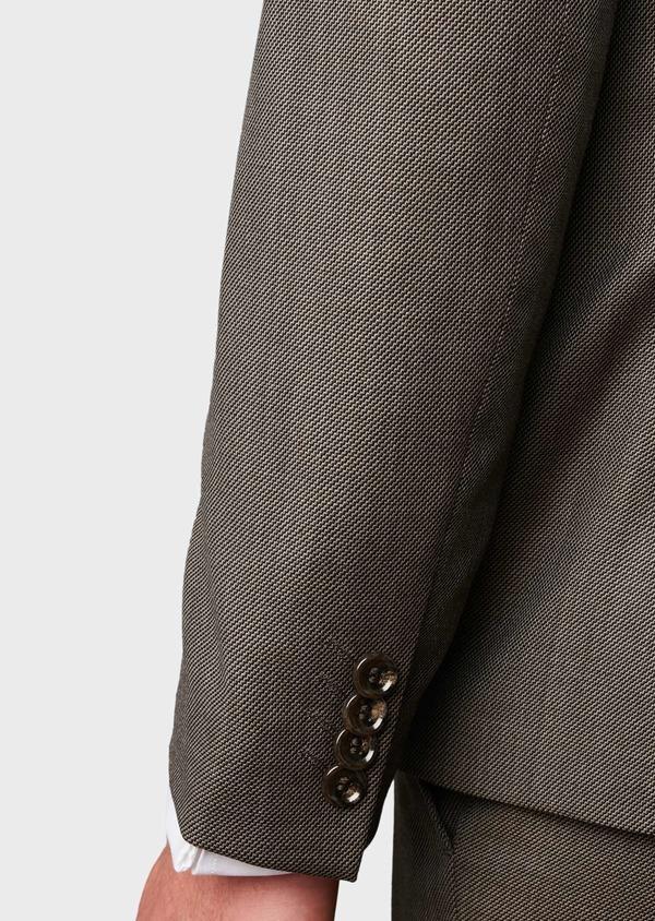 Costume 2 pièces Slim en laine façonnée unie marron clair - Father and Sons 5826