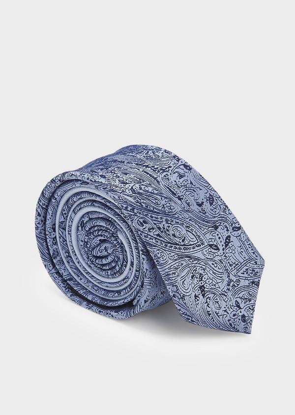 Cravate fine en soie bleue à motif cachemire marine - Father and Sons 5925
