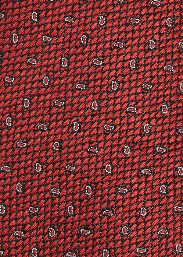 Cravate fine en soie rouge à motifs cachemire blancs - Father and Sons 5922