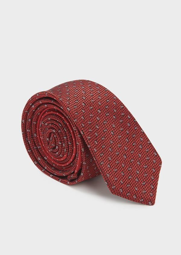 Cravate fine en soie rouge à motifs cachemire blancs - Father and Sons 5921