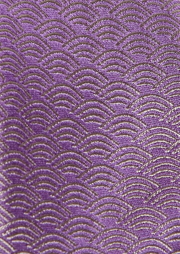 Cravate fine en soie violet clair à motifs fantaisie ton sur ton - Father and Sons 5958