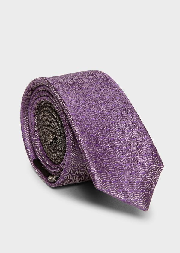 Cravate fine en soie violet clair à motifs fantaisie ton sur ton - Father and Sons 5957