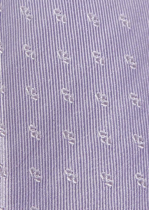 Cravate fine en soie violet clair à motifs fantaisie blancs - Father and Sons 5962