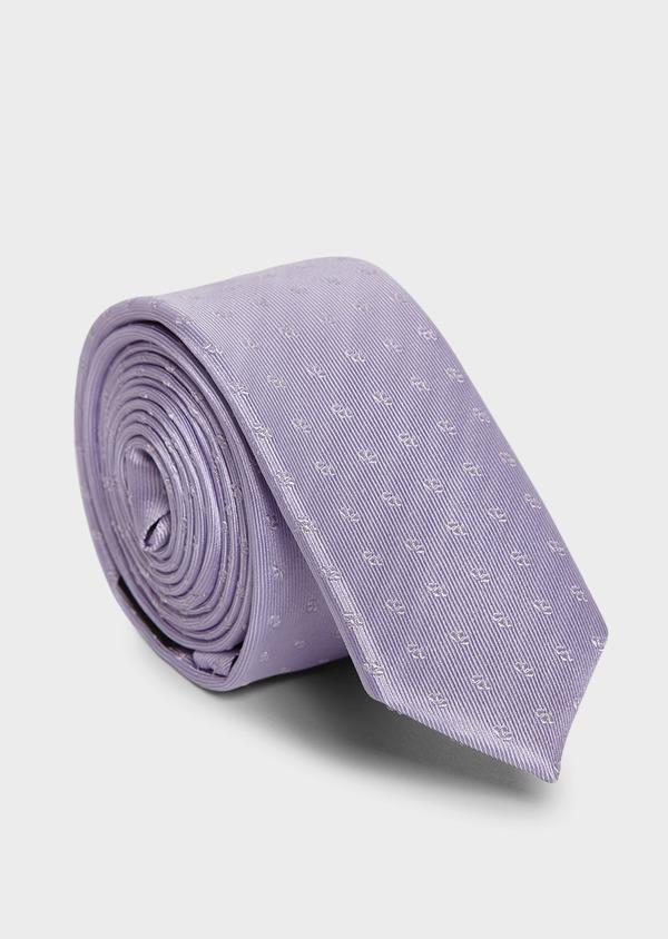 Cravate fine en soie violet clair à motifs fantaisie blancs - Father and Sons 5961