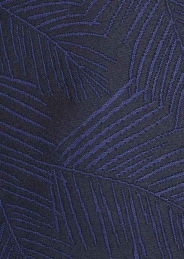 Cravate fine en soie bleu foncé à motif fantaisie ton-sur-ton - Father and Sons 6018