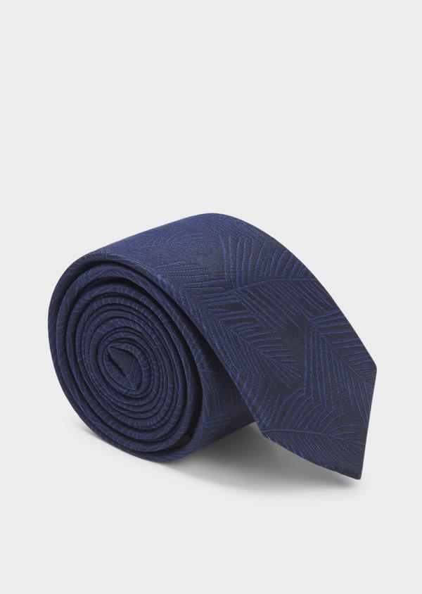 Cravate fine en soie bleu foncé à motif fantaisie ton-sur-ton - Father and Sons 6017