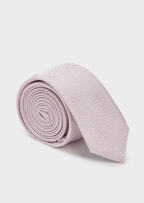 Cravate fine en soie à motif fantaisie rose clair - Father and Sons 6093