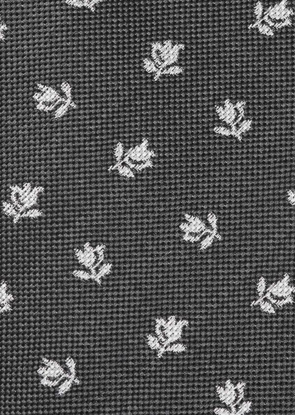 Cravate fine en soie gris foncé à motif fleuri blanc - Father and Sons 6010