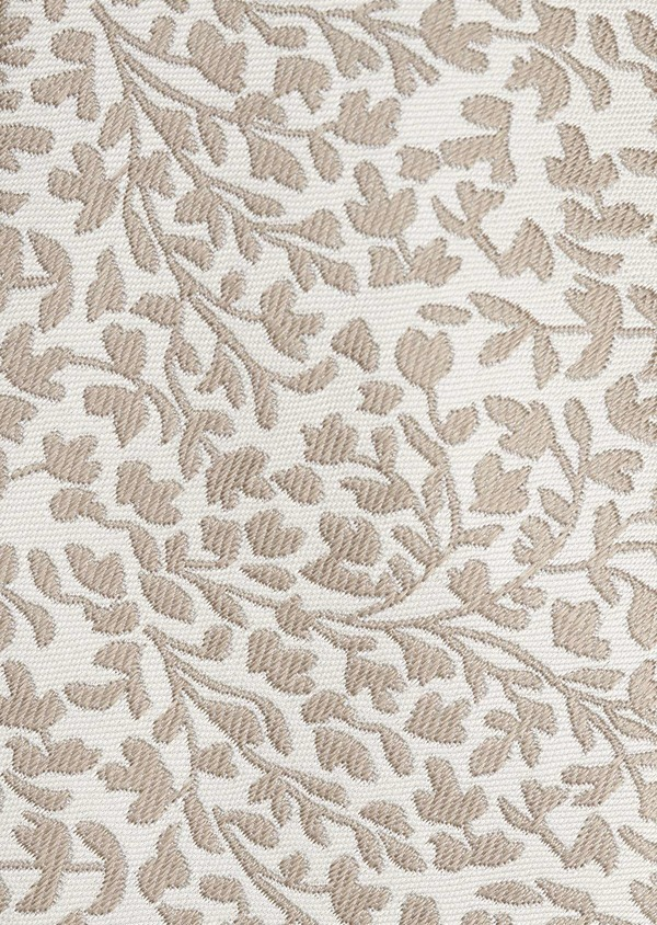 Cravate fine en soie blanche à motif fleuri beige - Father and Sons 6082