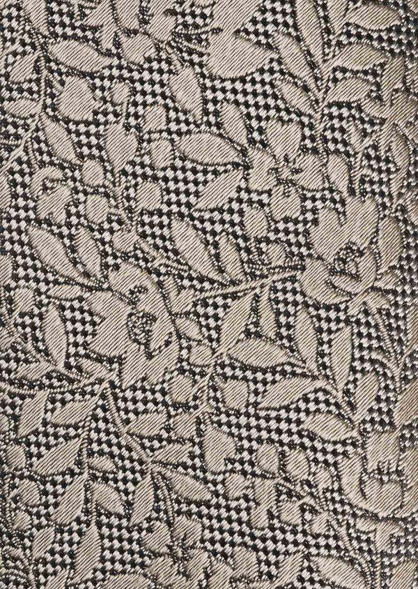 Cravate fine en soie noire à motif fleuri beige - Father and Sons 6086