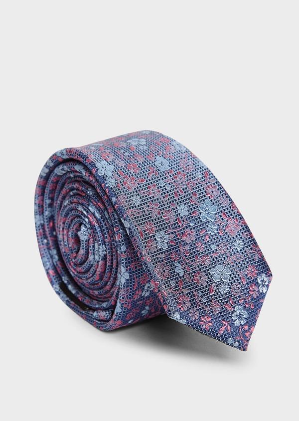Cravate fine en soie bleue à motif fleuri bleu clair et rose - Father and Sons 5933