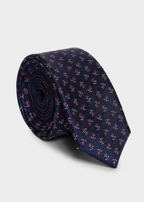 Cravate fine en soie bleu indigo à motif fleuri rose - Father and Sons 5949