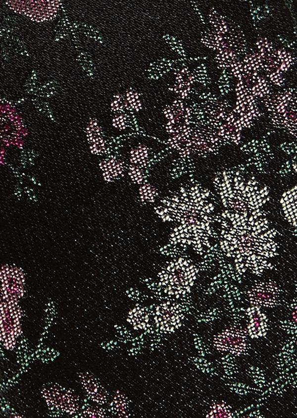 Cravate fine en soie noire à motif fleuri rose foncé et vert - Father and Sons 5974