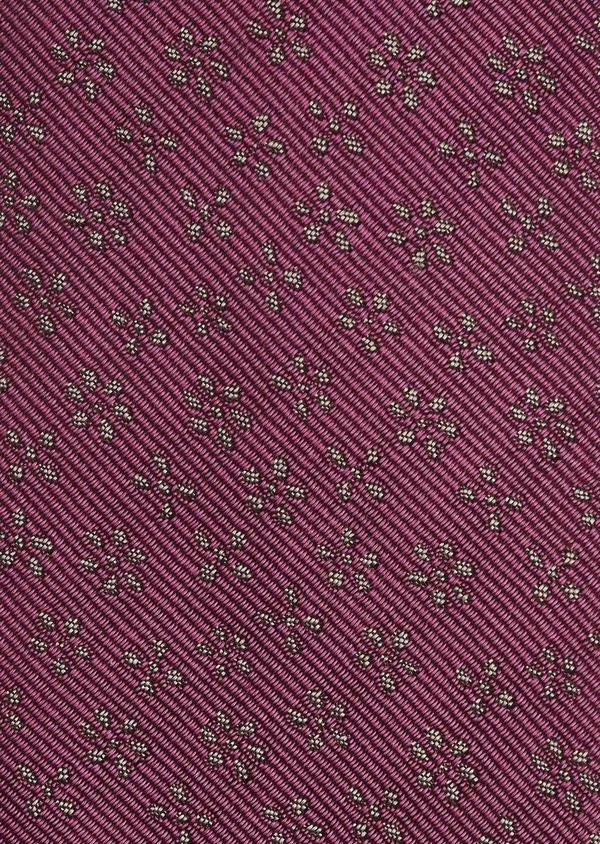 Cravate fine en soie rose foncé à motif fleuri marron clair - Father and Sons 6066