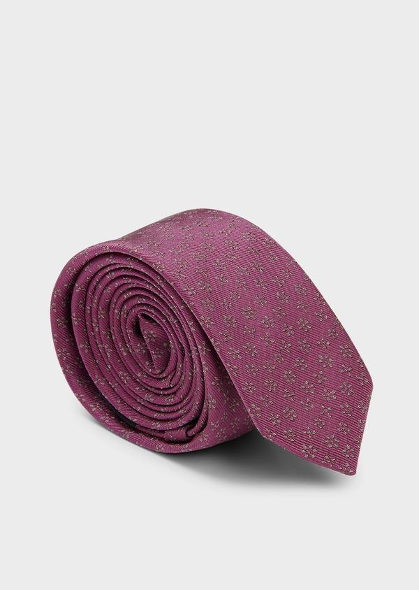 Cravate fine en soie rose foncé à motif fleuri marron clair - Father and Sons 6065