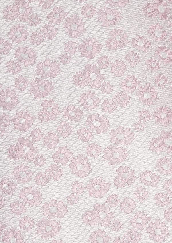 Cravate fine en soie blanche à motif fleuri rose clair - Father and Sons 6098
