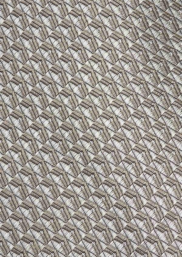 Cravate fine en soie à motifs géométriques beiges - Father and Sons 6078
