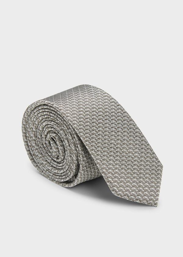 Cravate fine en soie à motifs géométriques beiges - Father and Sons 6077