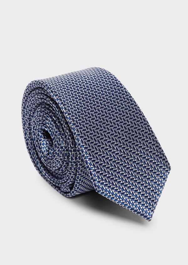 Cravate fine en soie à motifs géométriques bleu et gris - Father and Sons 5929