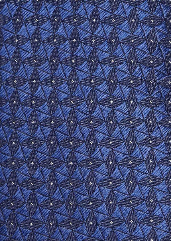 Cravate fine en soie bleu foncé à motifs géométriques ton-sur-ton - Father and Sons 6014