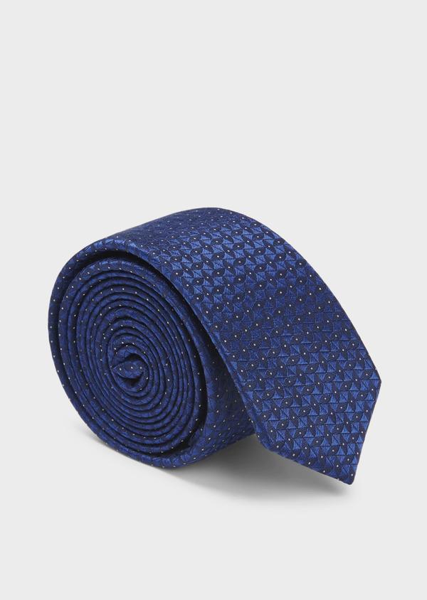 Cravate fine en soie bleu foncé à motifs géométriques ton-sur-ton - Father and Sons 6013
