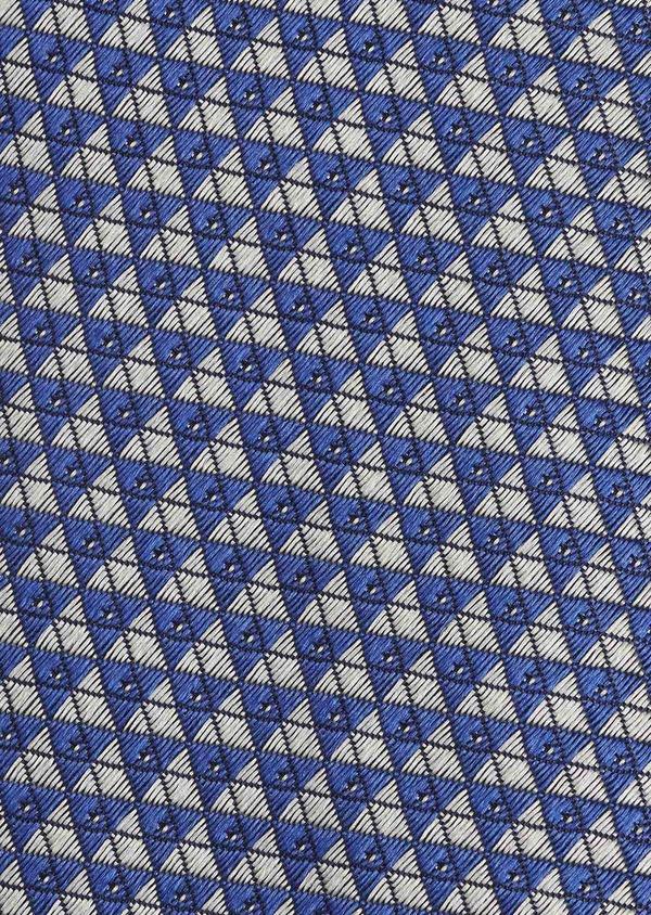 Cravate fine en soie à motifs géométriques bleu foncé et gris - Father and Sons 6022