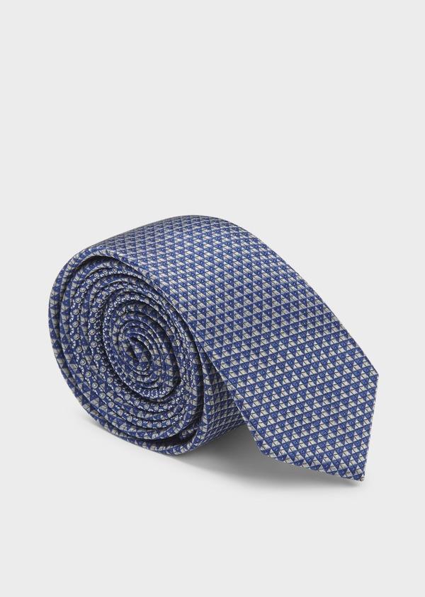 Cravate fine en soie à motifs géométriques bleu foncé et gris - Father and Sons 6021