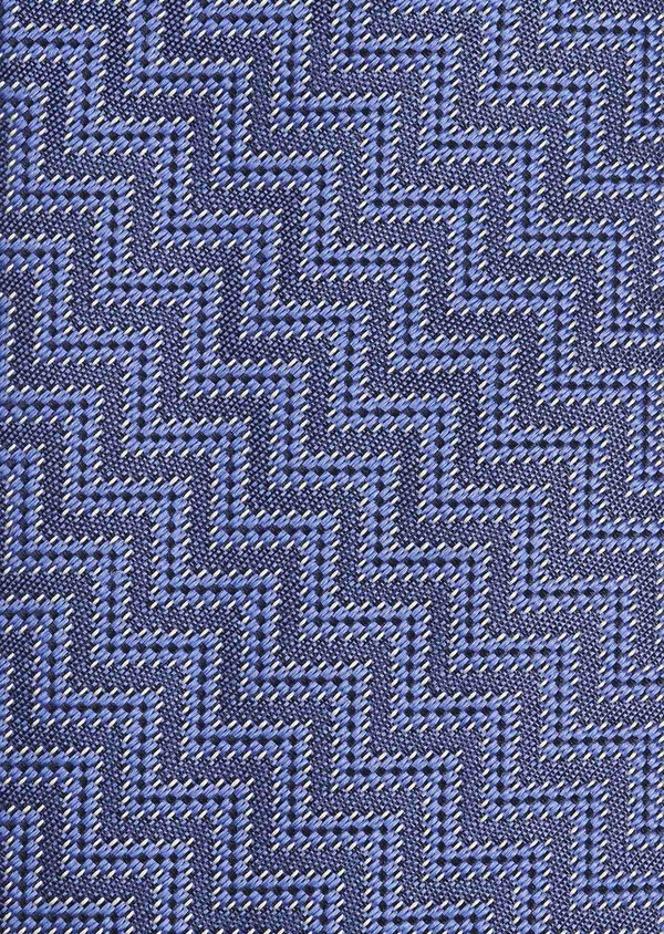 Cravate fine en soie à motif zigzag marine et bleu - Father and Sons 6026