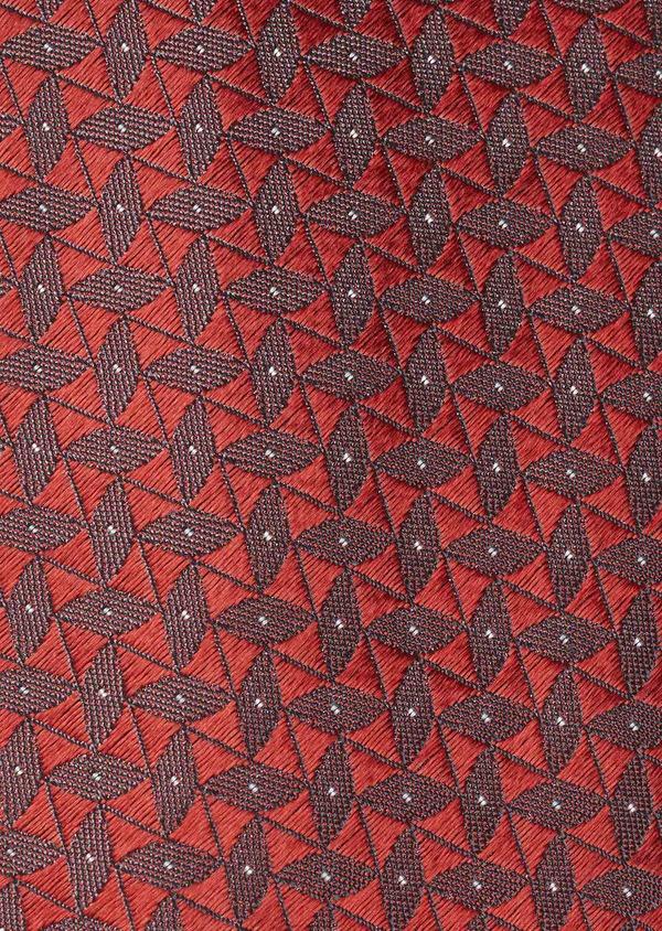 Cravate fine en soie rouge à motifs géométriques gris - Father and Sons 5986