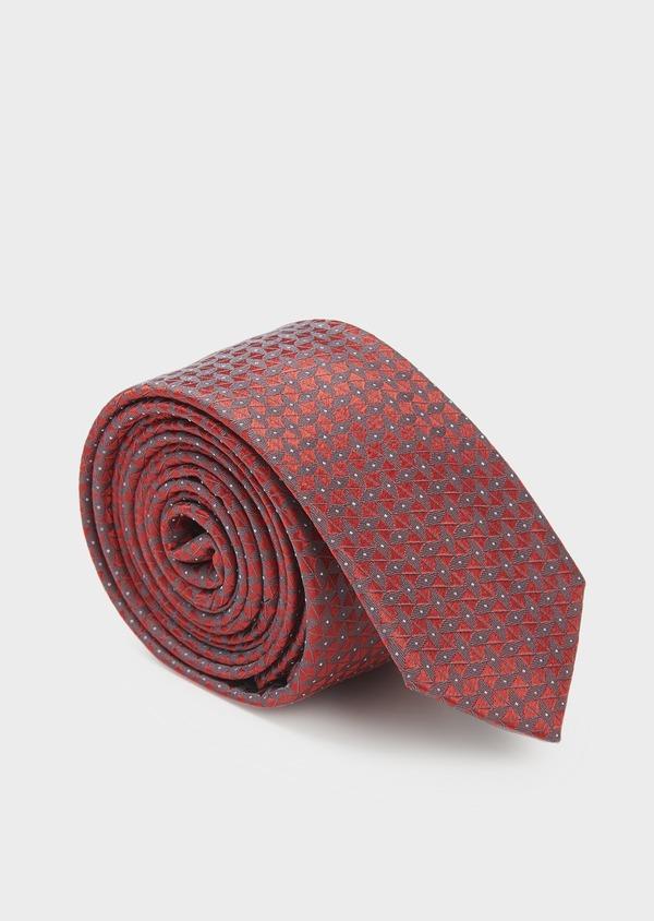 Cravate fine en soie rouge à motifs géométriques gris - Father and Sons 5985