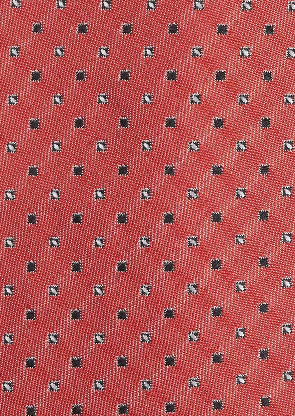 Cravate fine en soie rouge à motifs géométriques noir et blanc - Father and Sons 5994