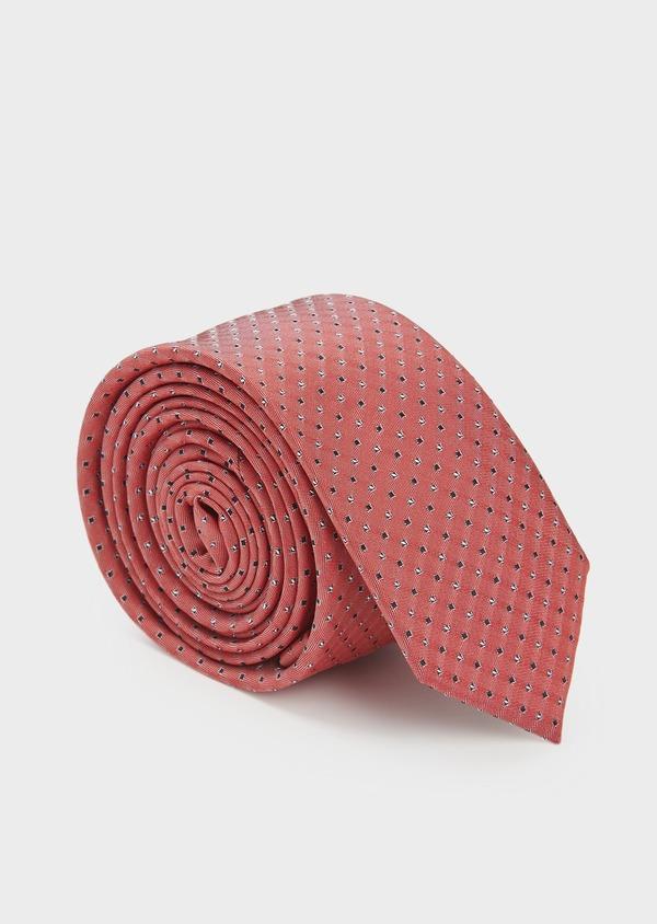 Cravate fine en soie rouge à motifs géométriques noir et blanc - Father and Sons 5993