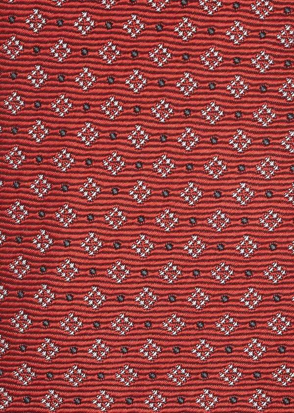 Cravate fine en soie rouge à motifs géométriques blanc et noir - Father and Sons 6006