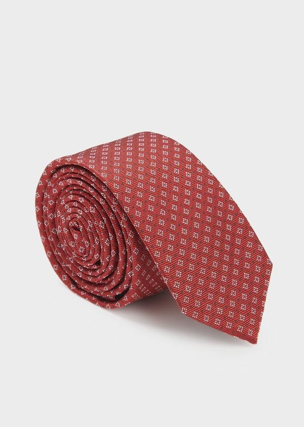 Cravate fine en soie rouge à motifs géométriques blanc et noir - Father and Sons 6005
