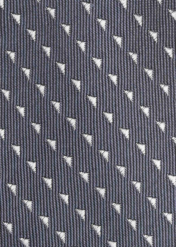 Cravate fine en soie bleu-gris à motifs géométriques gris clair - Father and Sons 6058