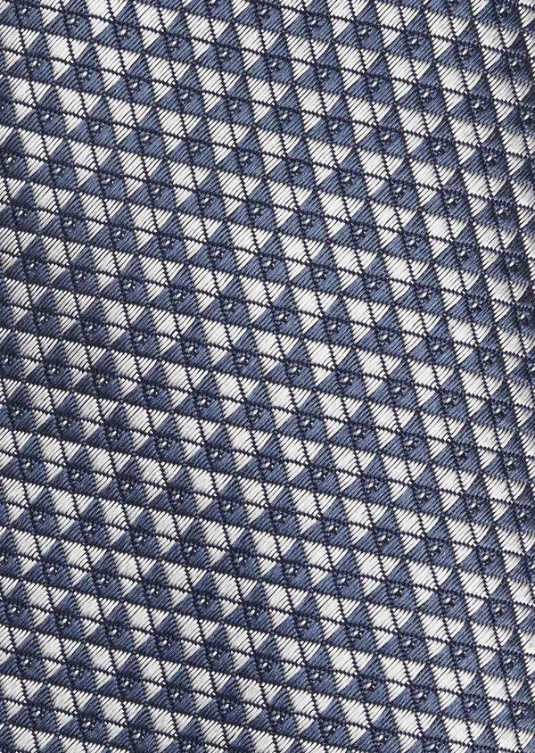 Cravate fine en soie à motifs géométriques bleu-gris et blanc - Father and Sons 6062