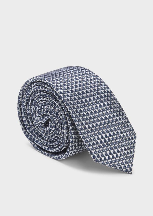 Cravate fine en soie à motifs géométriques bleu-gris et blanc - Father and Sons 6061
