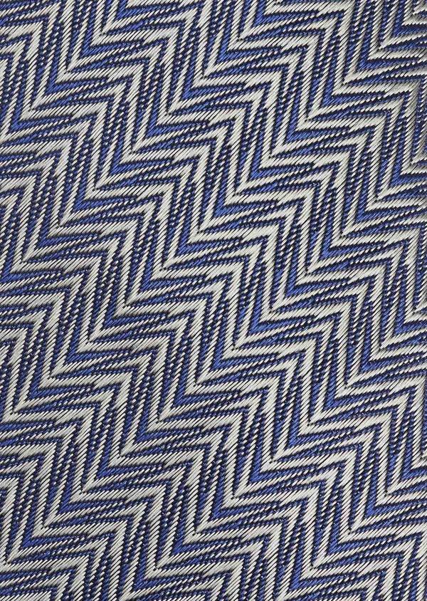 Cravate fine en soie à motif fantaisie gris et bleu - Father and Sons 6030