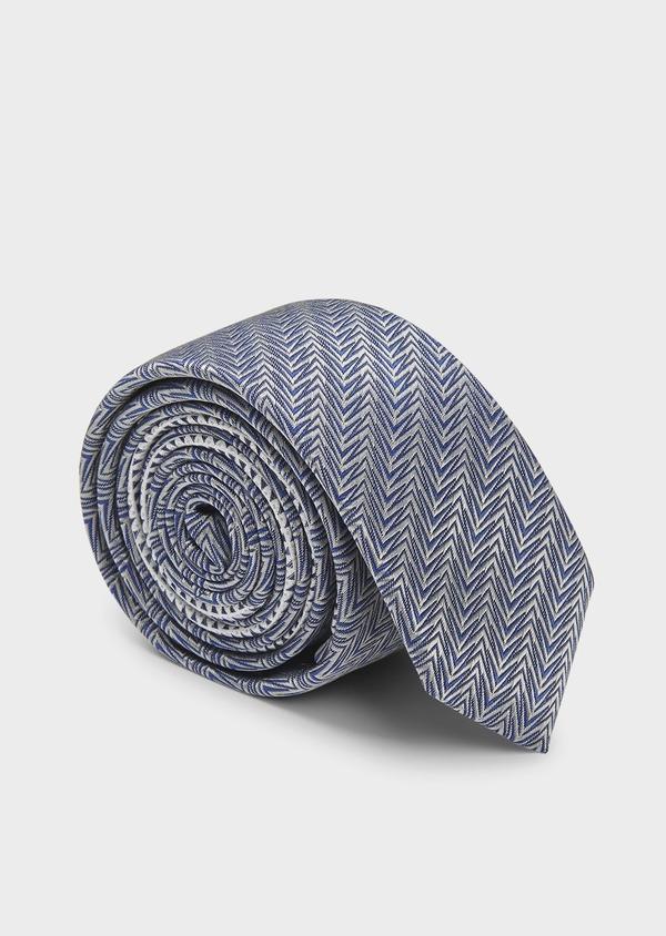 Cravate fine en soie à motif fantaisie gris et bleu - Father and Sons 6029