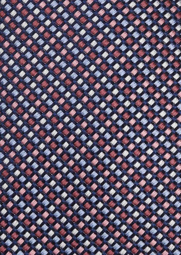 Cravate fine en soie à motifs géométriques bleu et rose - Father and Sons 6038
