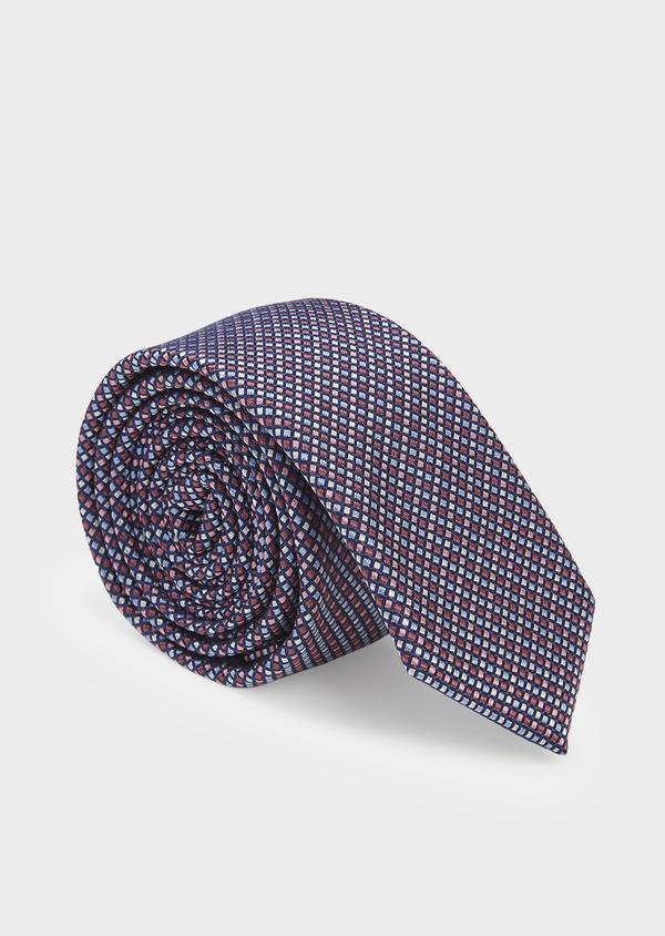 Cravate fine en soie à motifs géométriques bleu et rose - Father and Sons 6037