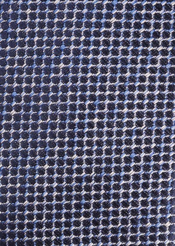 Cravate fine en soie bleue à motifs géométriques gris clair - Father and Sons 6106