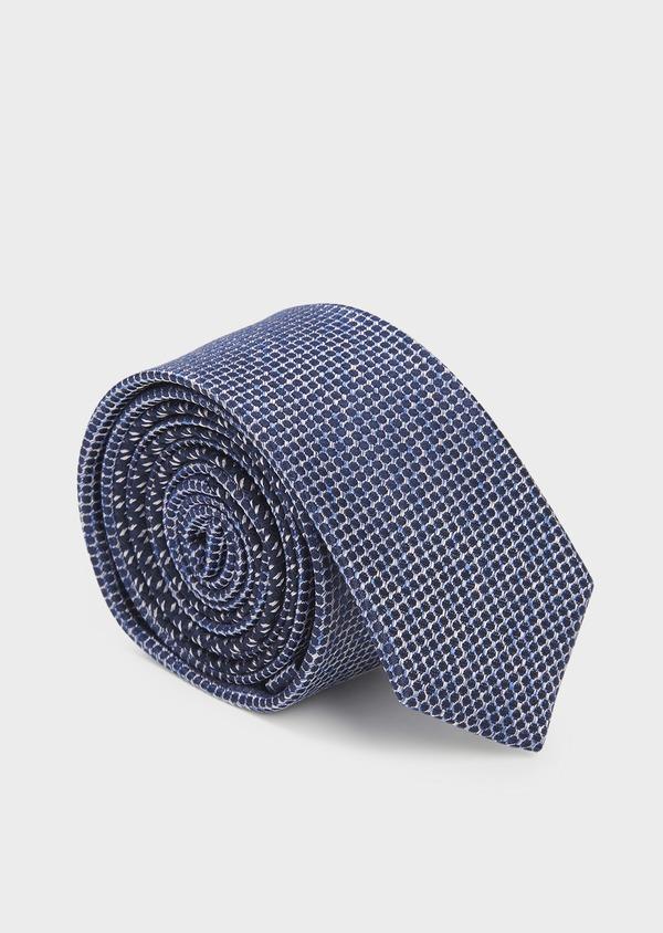 Cravate fine en soie bleue à motifs géométriques gris clair - Father and Sons 6105