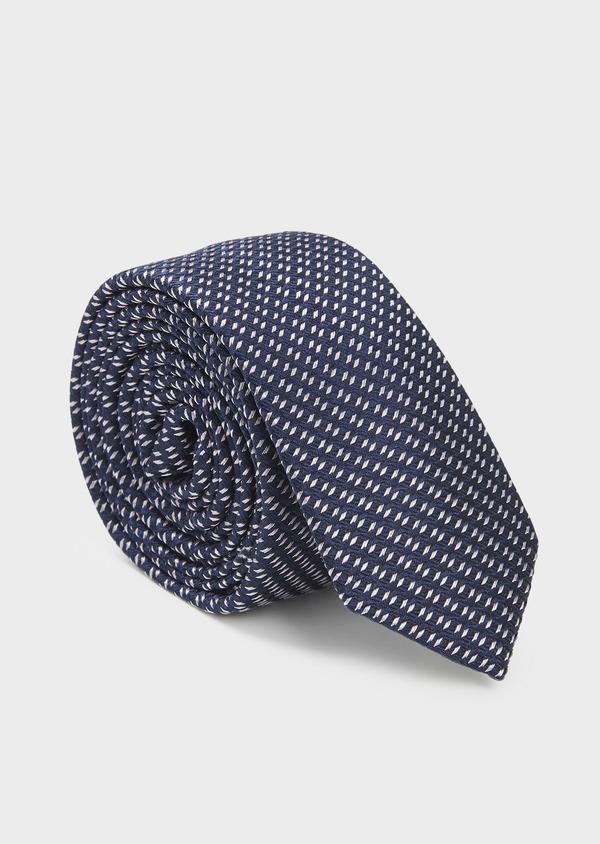 Cravate fine en soie bleu indigo à motifs géométriques gris clair - Father and Sons 6109