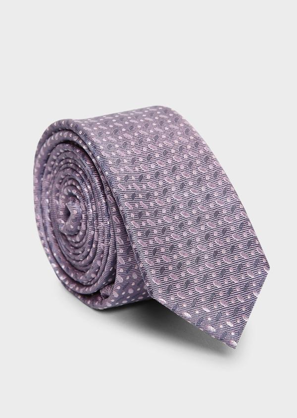 Cravate fine en soie à motifs géométriques violet et rose - Father and Sons 5953