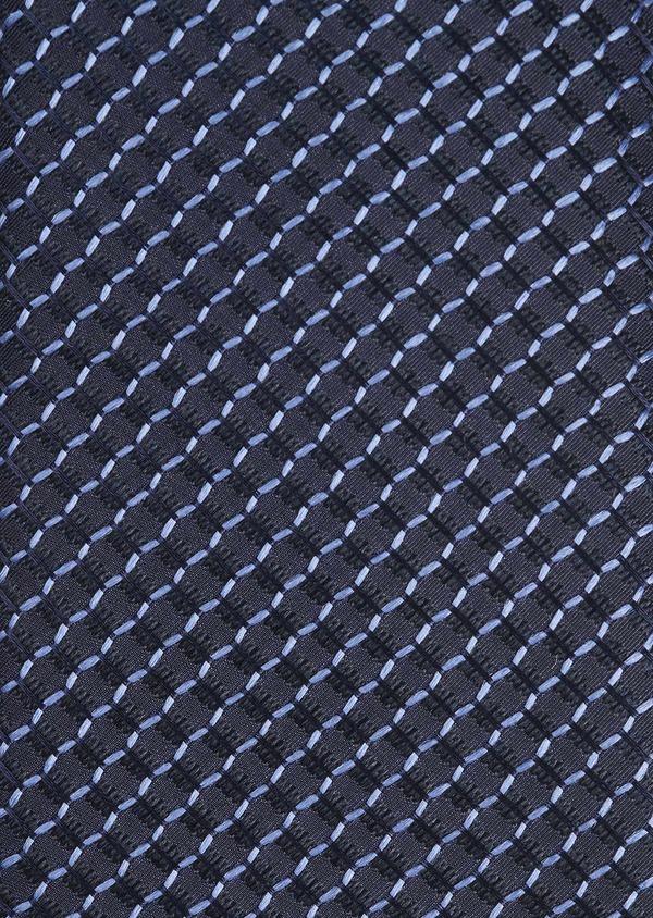 Cravate fine en soie à motifs géométriques marine et bleu - Father and Sons 6034